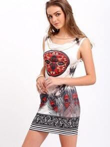 Vestito smanicato stampato Multicolore