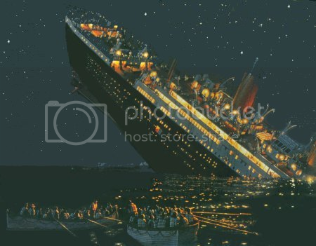 Painting of the R.M.S. Titanic sinking.