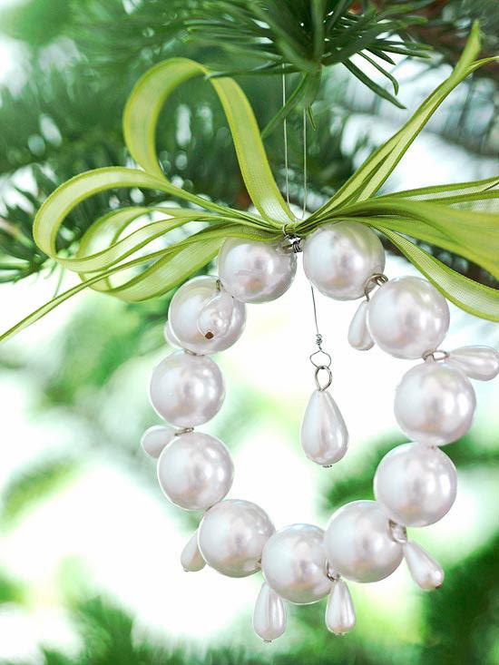 pearl wreath ornament