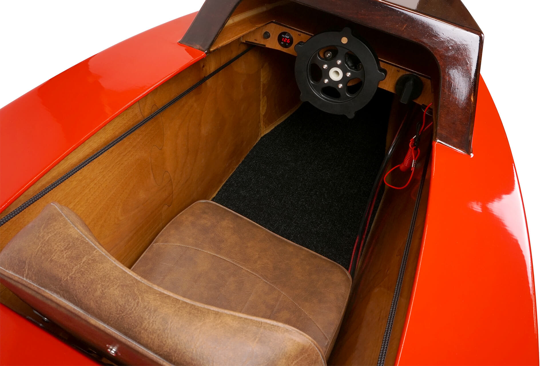 A detail view of the mini electric boat seat