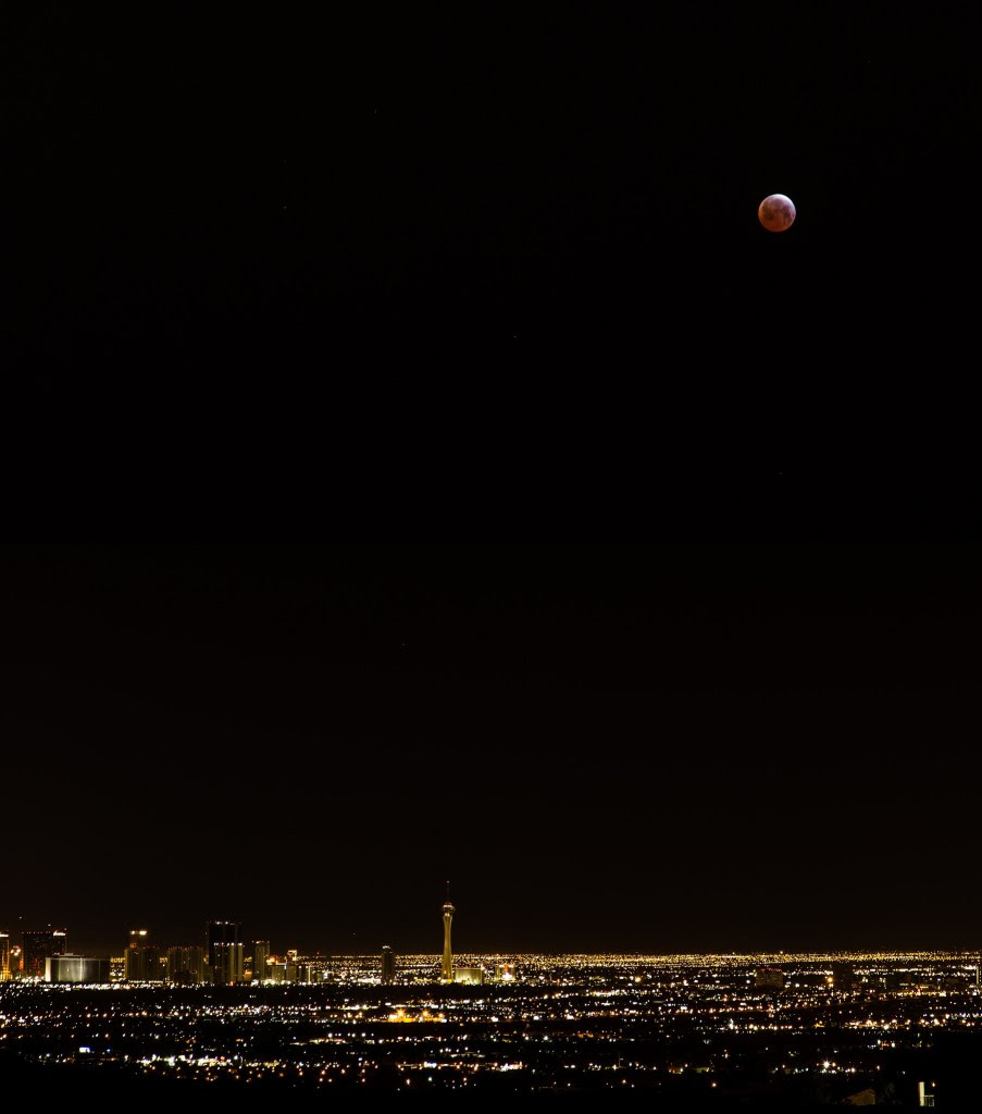 The April 4th lunar eclipse over the Las Vegas strip. Image credit and copyright: John Lybrand