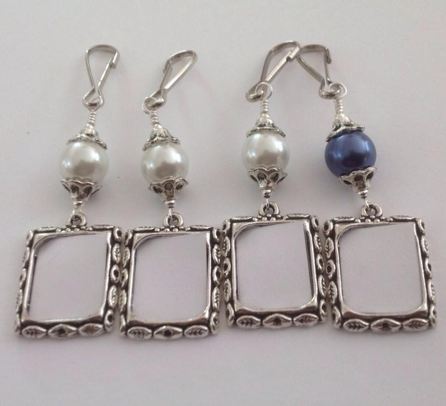 Wedding Bouquet Photo Charms Pearl Memorial Charms Small Frames