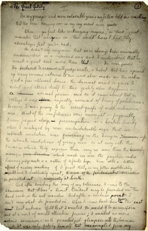 explore-blog:  The original handwritten manuscript of The Great Gatsby, fromPrinceton's newly digitized archive of F. Scott Fitzgerald's manuscripts.