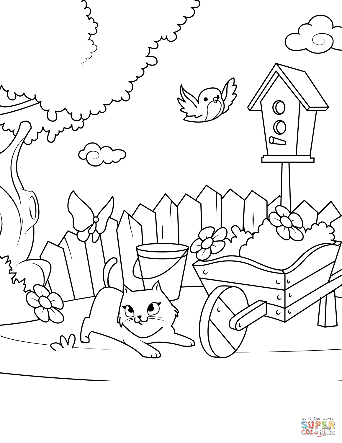 Cat Playing with a Butterfly in the Yard coloring page ...