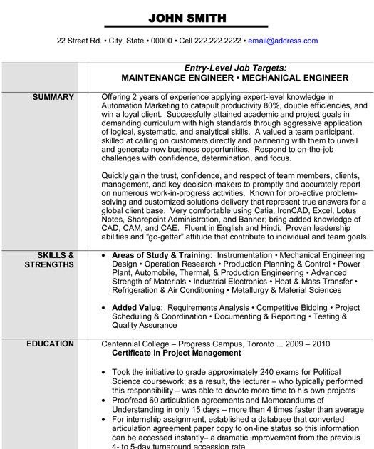 maintenance mechanic resume sample  best resume examples