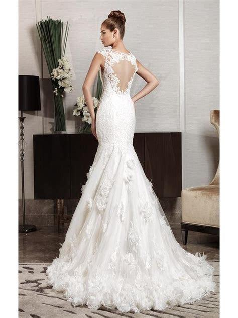 Cut Out Lace Back Fishtail Wedding Dress ? Intuzuri Bridal