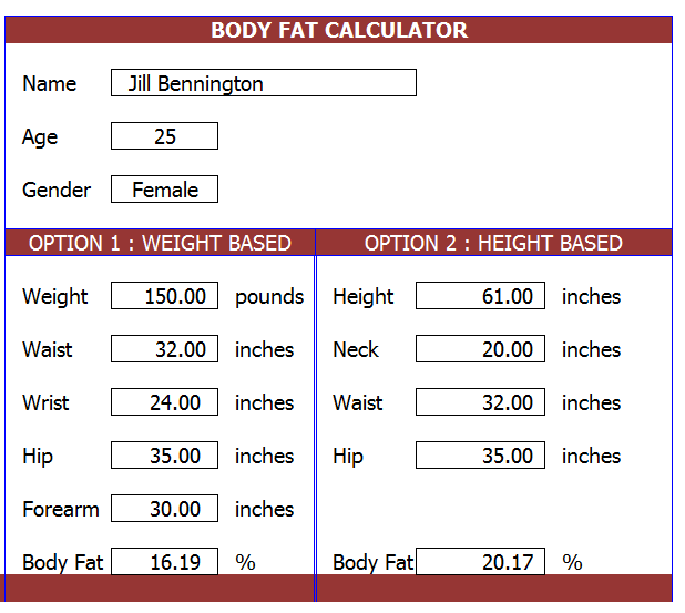 body fat percentage to weight loss calculation