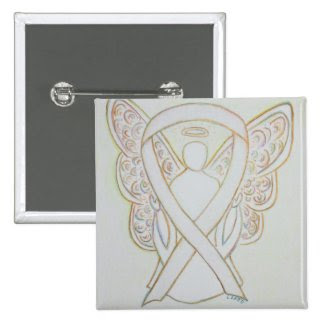 White Angel Awareness Ribbon Custom Art Pins