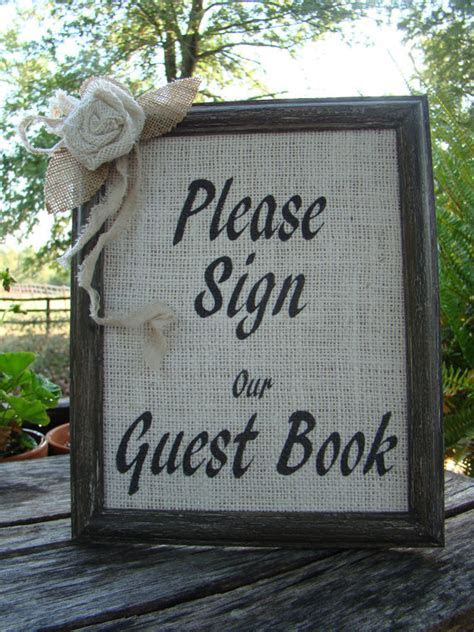 Unxia: Rustic Burlap Wedding Guest Book Sign