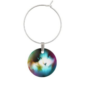snowshoe rainbow kitty wine glass charm