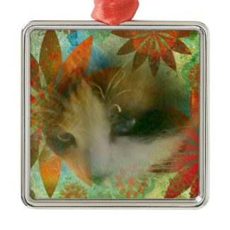 snowshoe sixties flower child kitty square metal christmas ornament