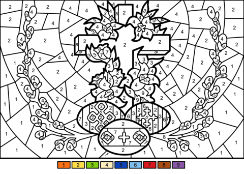 easter cross and eggs colornumber  free printable coloring pages
