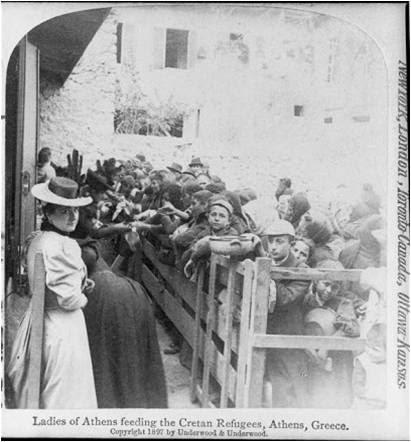 Αθηναιες στα συσσιτια προσφυγων της Κρητης - 1897