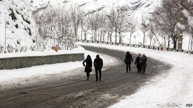 Snowy road in Tochal mountains north of Tehran, Iran (3 Feb 2014)