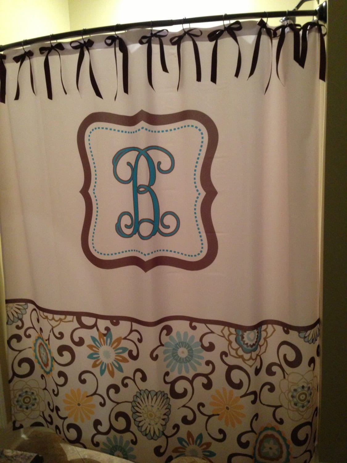 Personalized Shower Curtain Vintage Style Floral by redbeauty