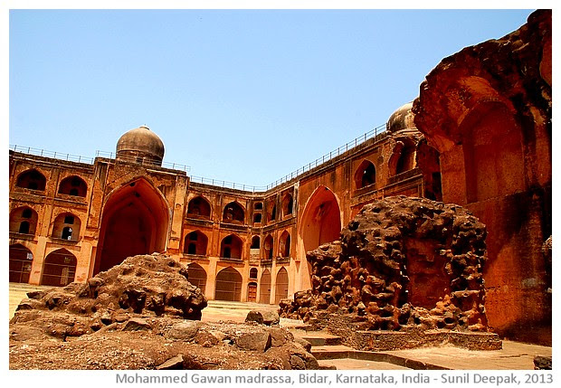 Mahmud Gawan madrassa, Bidar, Karnataka, India - images by Sunil Deepak