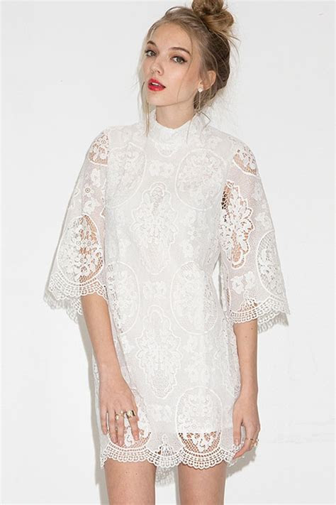 white crochet lace stand collar casual dress