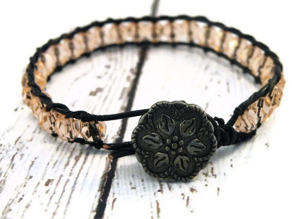 Boho Peach Czech Beaded on Black Leather Wrap Bracelet/ Soft Blush/ Boho Feminine Chic/ Free Shipping - GloryGift