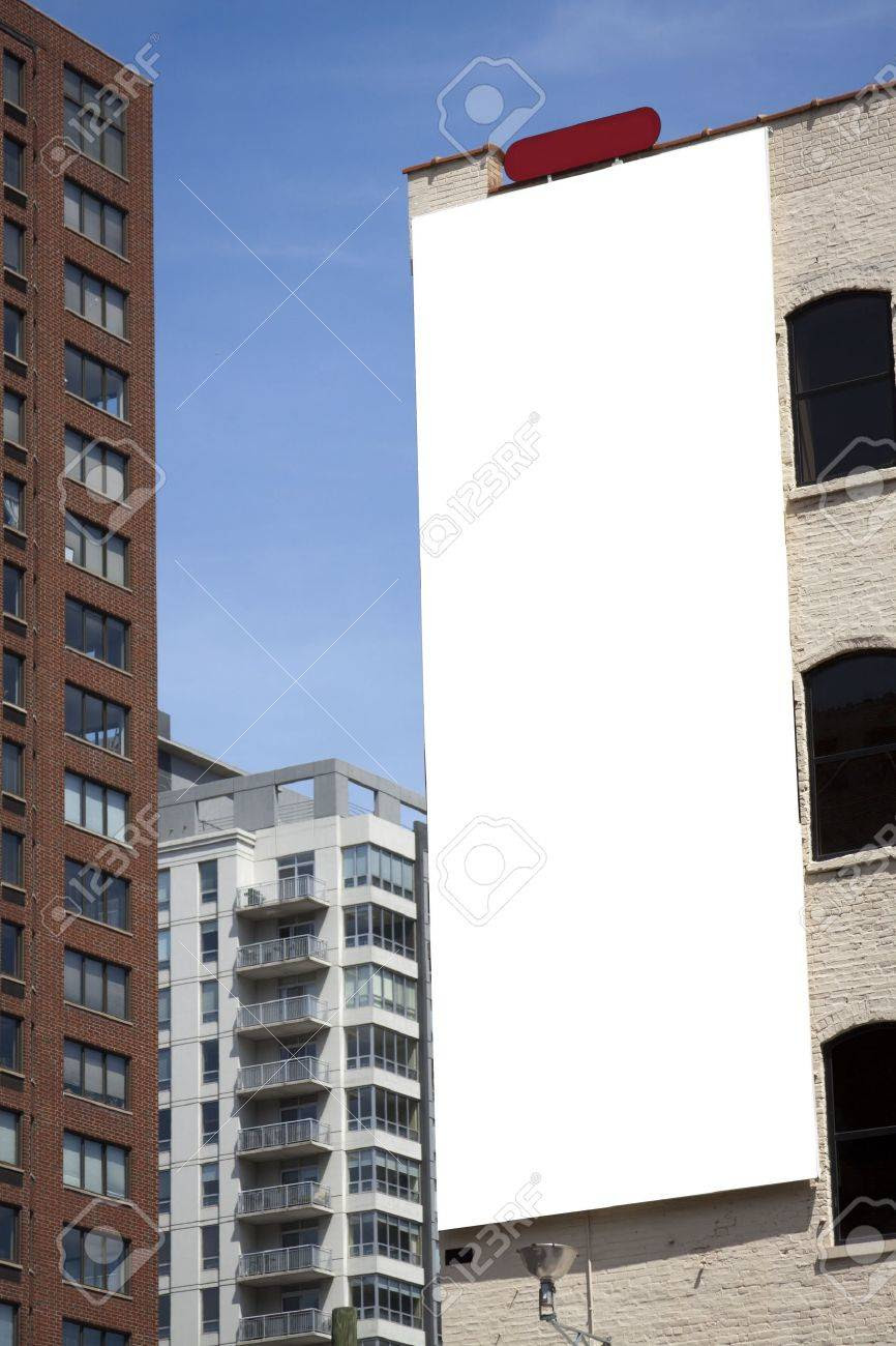 Blank Billboard On Building In City Downtown Stock Photo, Picture ...