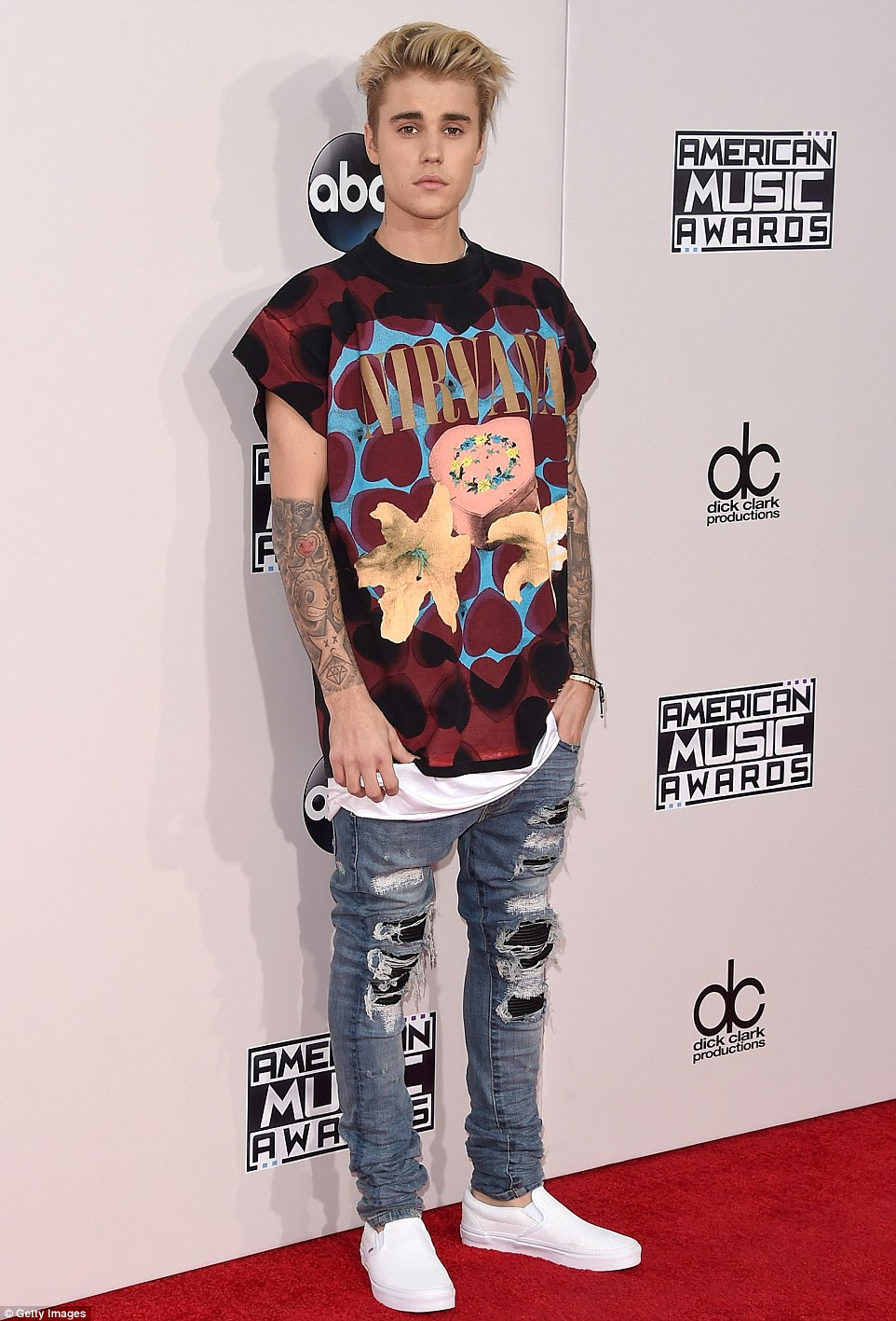 Grunge: Justin Bieber wore a Nirvana t-shirt and ripped jeans for his red carpet appearance