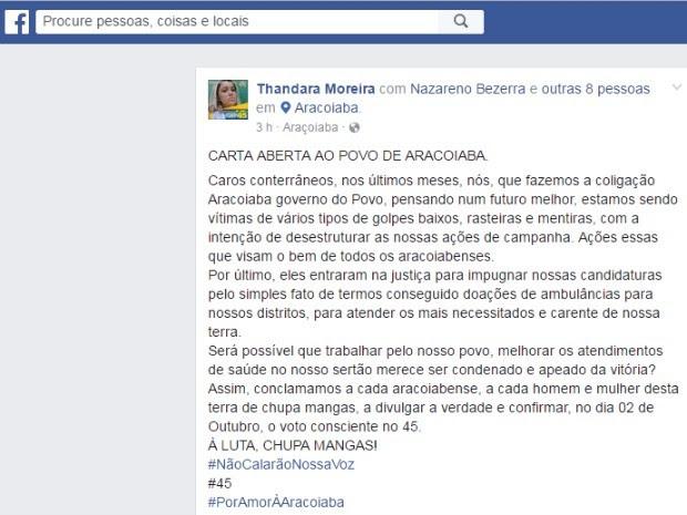 Nas redes sociais, mãe de Wesley Safadão se diz vítima de 'golpe baixo' (Foto: Facebook/Reprodução)