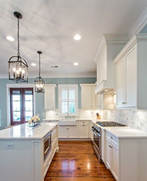 White Kitchen Cabinets With Blue Walls Dream House