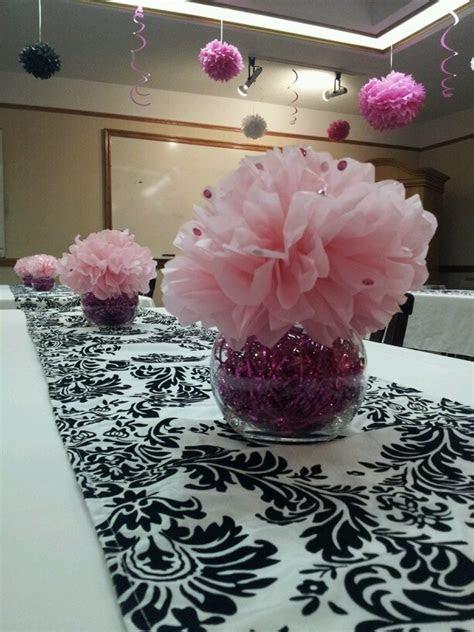 Pink tissue flower centerpieces   Party ideas   Pinterest