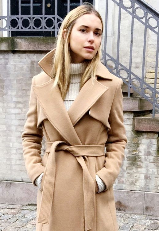 Le Fashion Blog Wool Camel Belted Trench Coat Ribbed Cream Turtleneck Sweater Via Look De Pernille