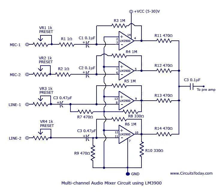 lm3900 audio mixer
