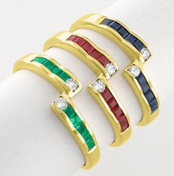 Foto 1, 3 Top Rubin-Safir-Smaragd-Brillant-Ringe 18K Luxus! Neu, S7592