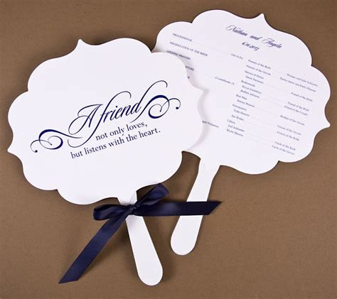 love  wedding fan programs flourish die cut