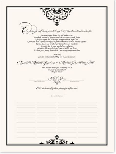 Abbey Cocktail Wedding Certificate and Marriage Vows with