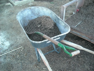 Hay Pitchfork and Tools for Laying Landscaping Mulch