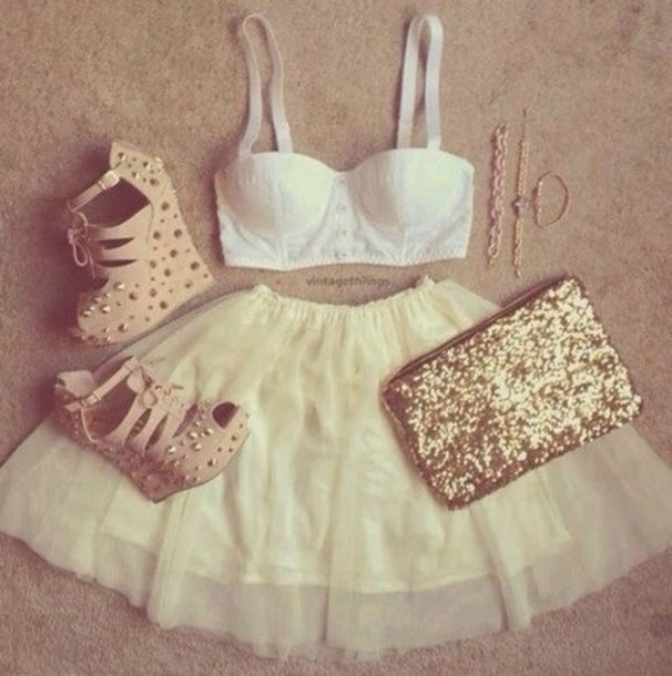 stwoae l 610x610 skirt tumblr+clothes girly+outfit gold studs heels white+bra cute summer perfect party tumblr tumblr+girl tumblr+outfit girly girly+outfits+tumblr gold+sequins gold+studs bralette