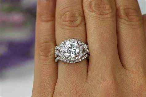 3.25 ctw 3 Band Twisted Halo Wedding Set Engagement Ring
