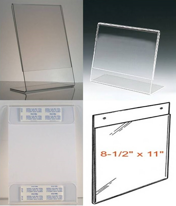 8 12 X 11 Clear Acrylic Plastic Sign Holders Picture Frames