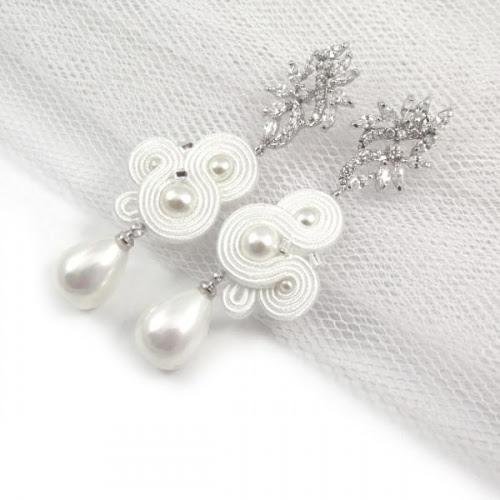 Delikatne kolczyki ślubne sutasz z perłami i cyrkoniami