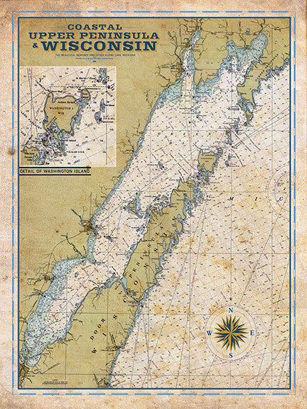 Door County Wi Vintage Nautical Map I Lost My Dog