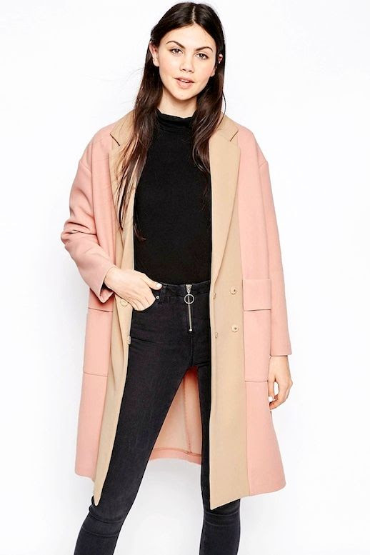 Le Fashion Blog Neutral Color Block Coat Roll Neck Turtleneck Top Black Zip Front Skinny Jeans Via Asos