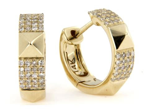 kt yellow gold mini hoop earrings  diamonds ar