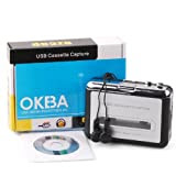 OKEBA New Handheld Super Tape to Mp3 Converter PC USB Portable Cassette-to-MP3 Capture Player Adapter with USB Cable Headphones and Software Cd