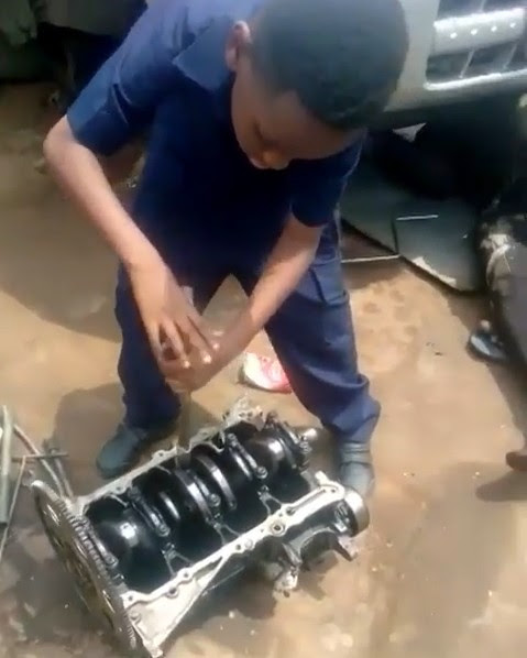 Kunle Afolayan Enrolls His Son As An Apprentice At A Mechanic Workshop (Photo)