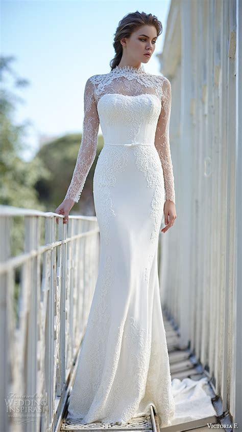 IM383 E Marry High Neck Lace Sheath Wedding Dress 2017