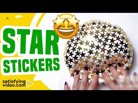 ASMR Video Most Satisfying Videos Playing Slime with Star Stickers & Mor...