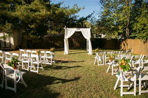 Simple outdoor wedding ceremony setup & decor from from
