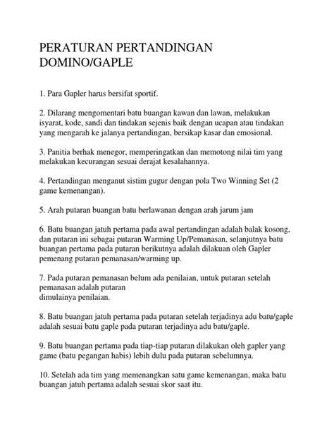 Peraturan Pertandingan Domino