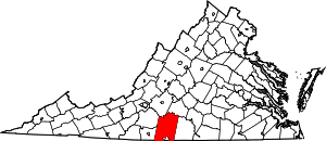 Map of Virginia highlighting Pittsylvania County