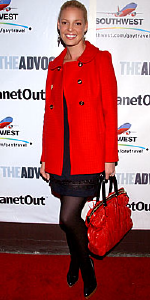 Katherine Heigl wearing red Juicy Couture coat