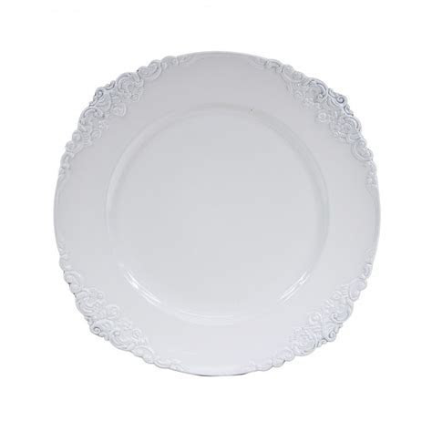 White Vintage Charger Plates, 4 Pack [424661] : Wholesale