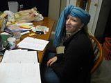Heidi Studying for a Felt History Test